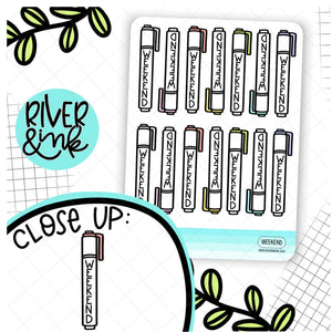 Highlighter Weekend Banner Hobonichi Weeks | Hand Drawn Planner Stickers