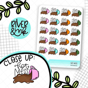 Hot Mess Cups | Hand Drawn Planner Stickers