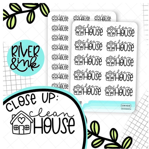 Clean House | Hand Lettered Planner Stickers
