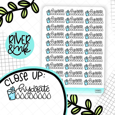 Hydrate Tracker | Hand Drawn Planner Stickers