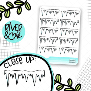 Icicle Divider | Hand Drawn Planner Stickers