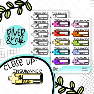 Insurance Bill Budgeting Quarter Boxes | Hand Drawn Planner Stickers