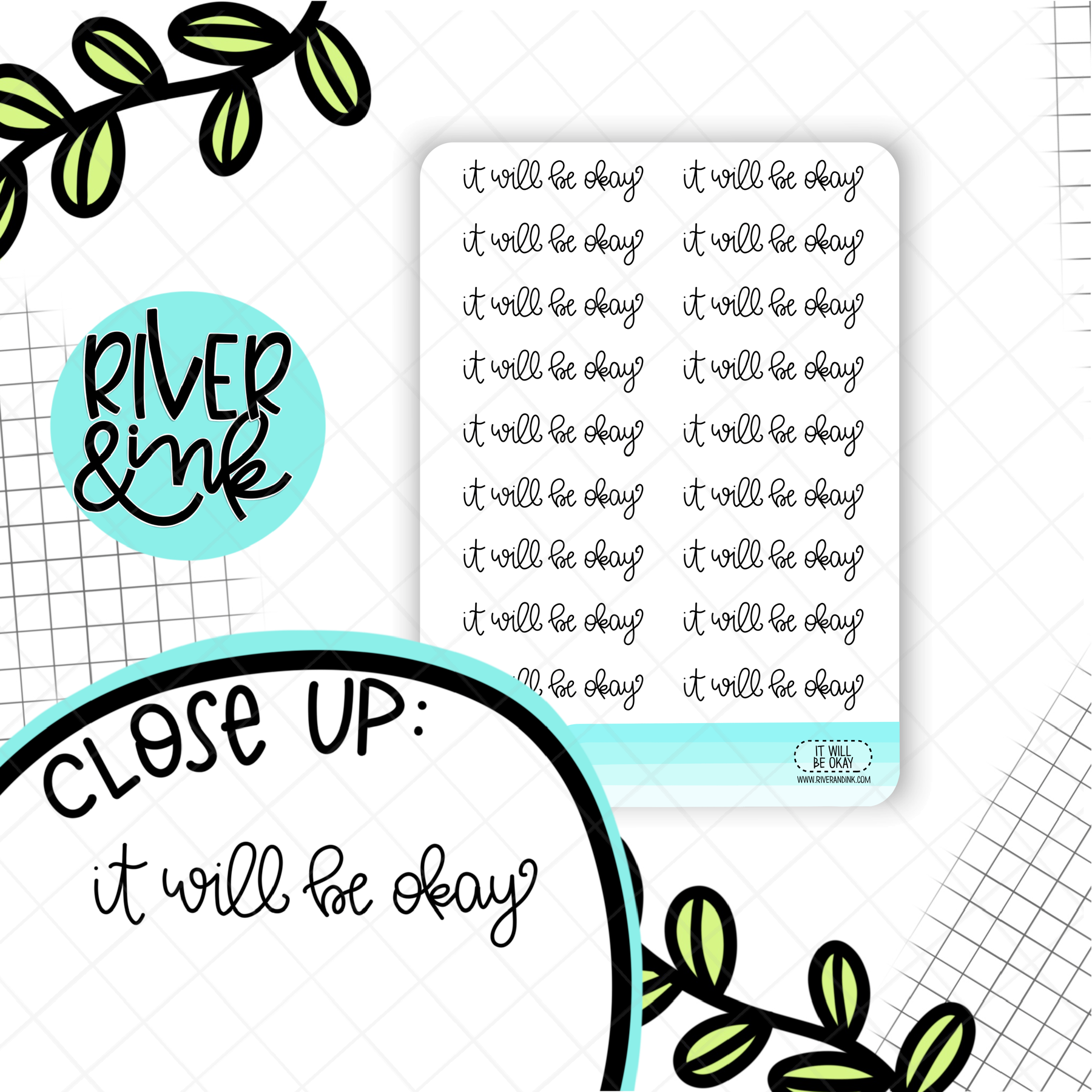 It Will Be Okay Quote | Hand Lettered Planner Stickers