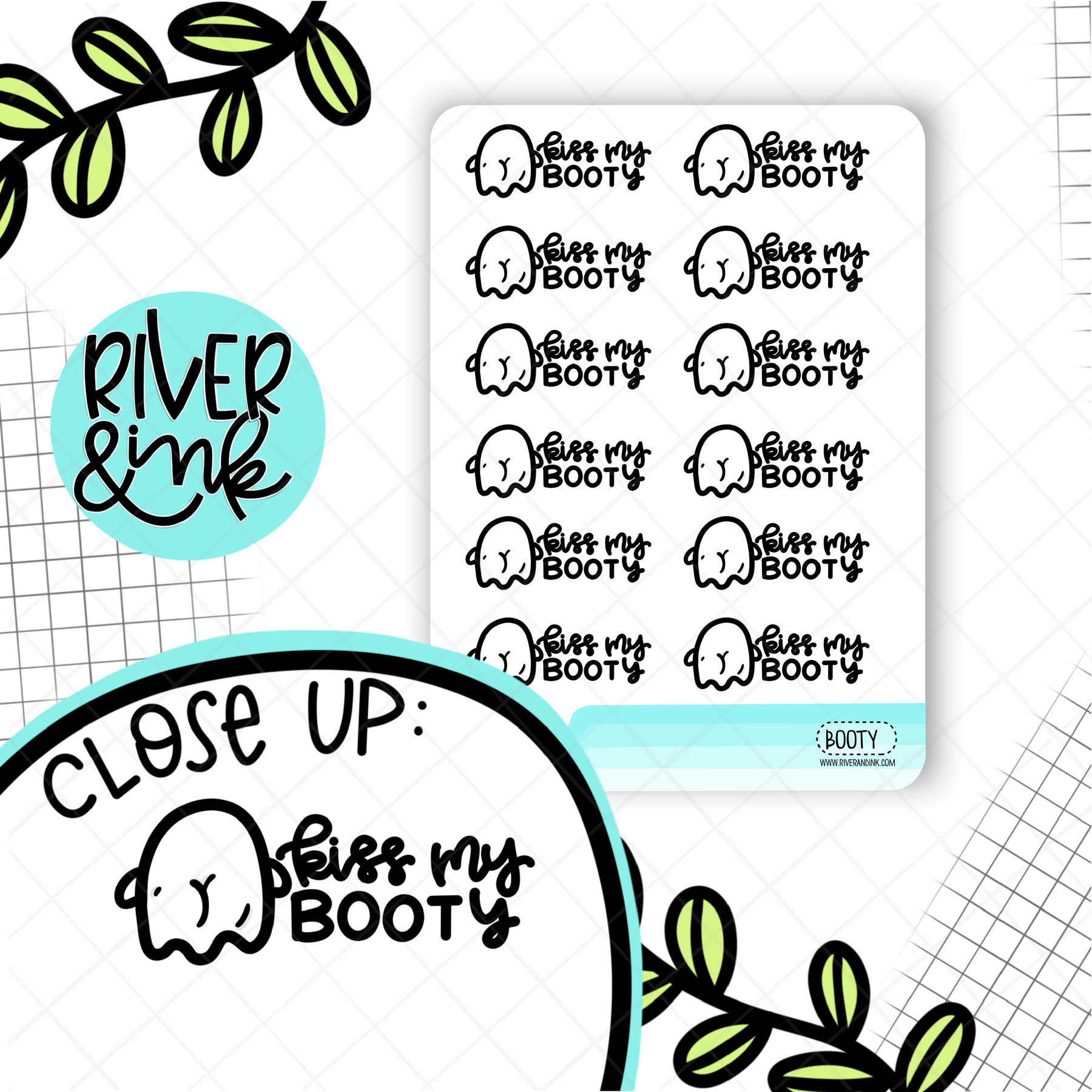 Kiss My BOOty Ghost Pun | Hand Drawn Planner Stickers