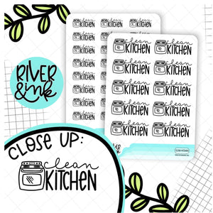 Clean Kitchen | Hand Lettered Planner Stickers