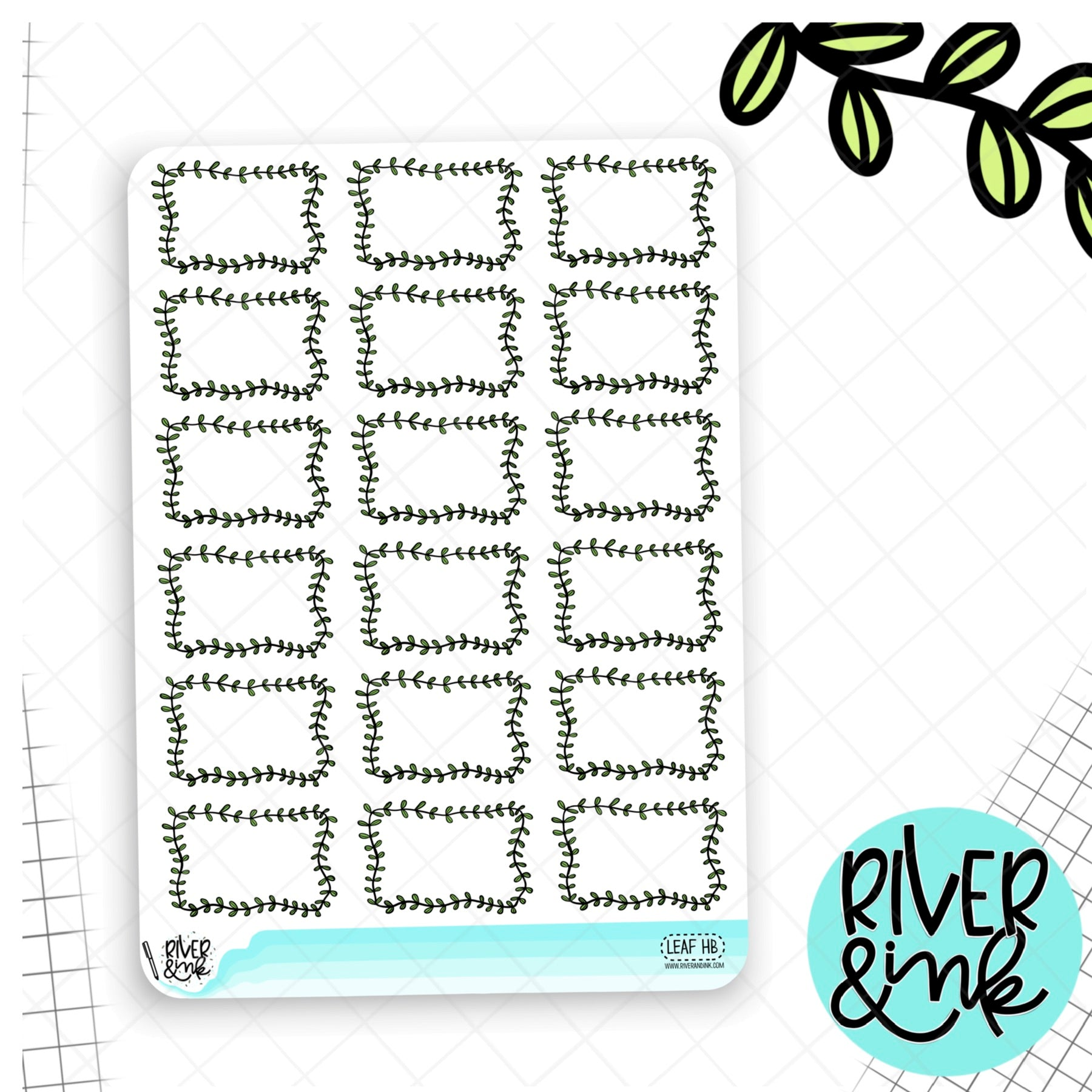 Leaf Half Boxes Planner Stickers