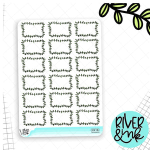 Leaf Boarder Half Boxes | Hand Drawn Planner Stickers