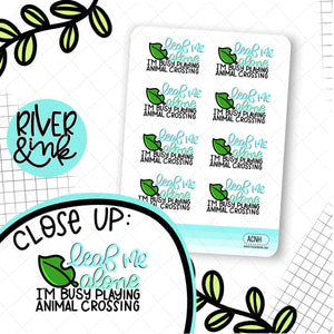 Leaf Me Alone ACNH Quote| Hand Lettered Planner Stickers
