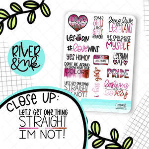 Lesbian Pride Quotes | Hand Drawn Planner Stickers