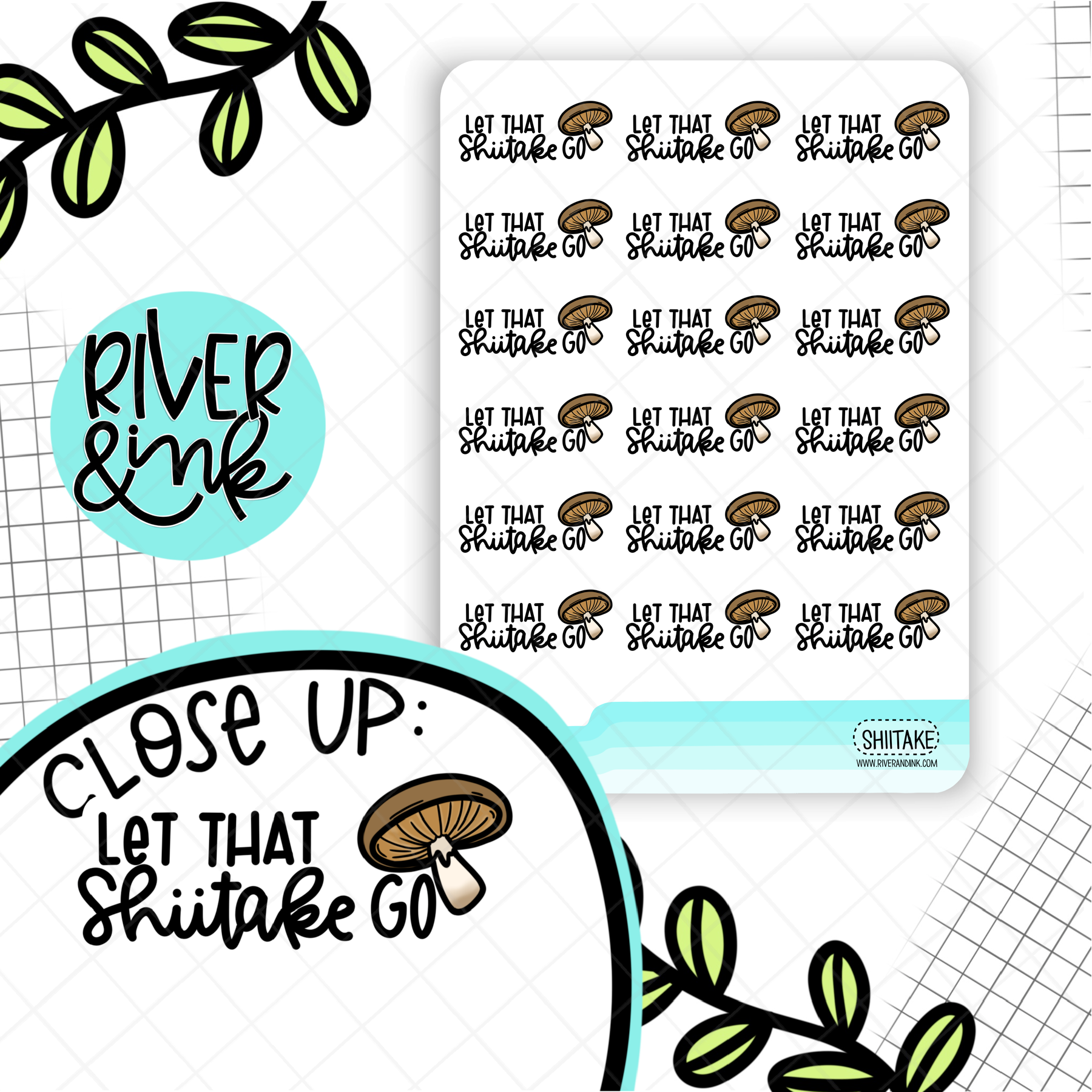 Let That Shiitake Go | Hand Drawn Planner Stickers