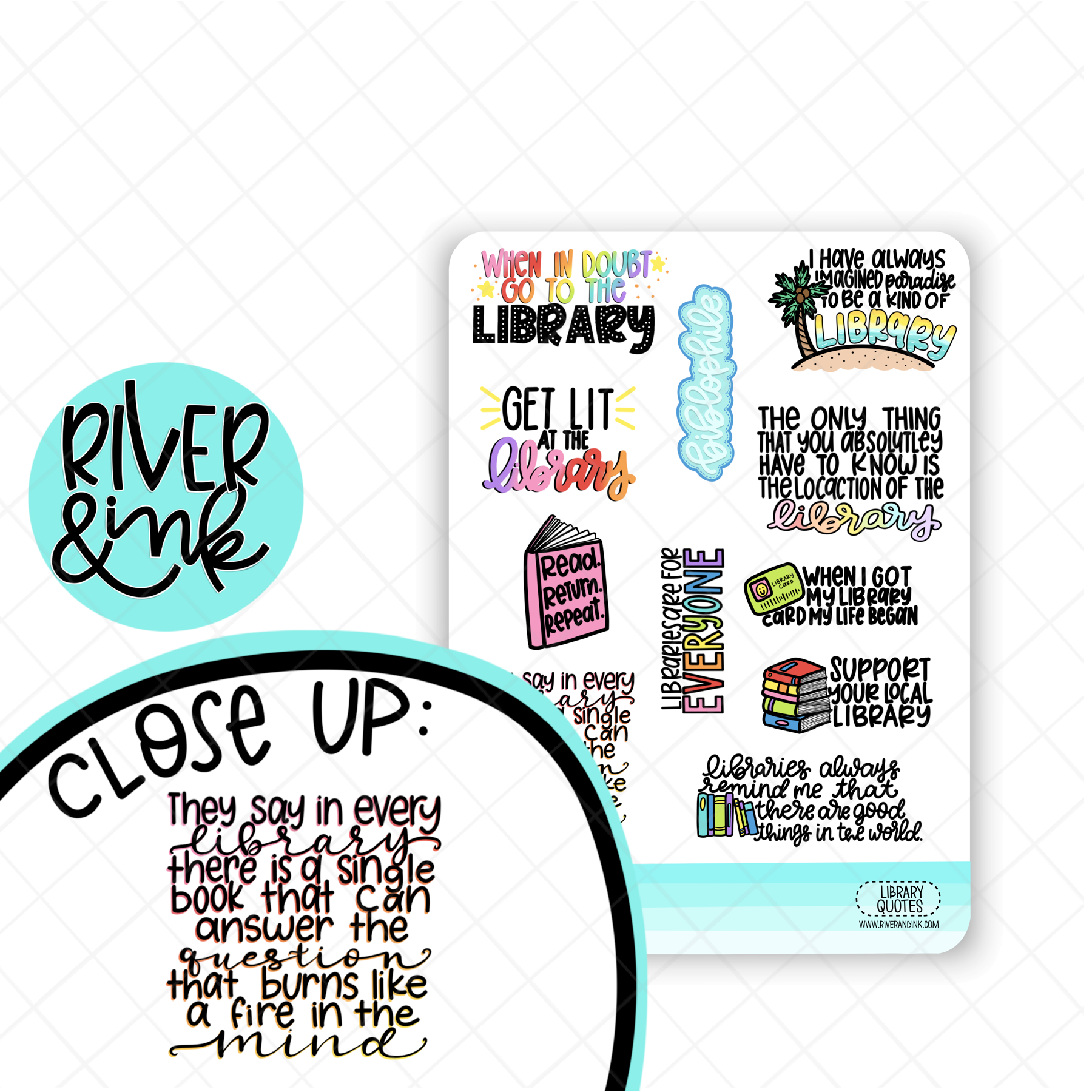 Library Quotes | Hand Lettered Planner Stickers