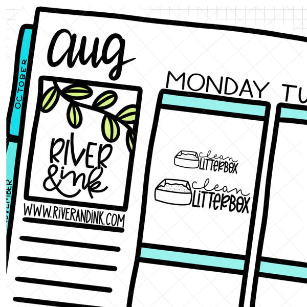 Clean Litter Box | Hand Lettered Planner Stickers