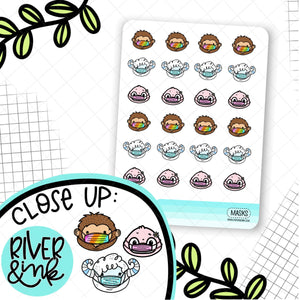 Mask Biggie Sass Ygritte Pearl Planner Character | Hand Drawn Planner Stickers