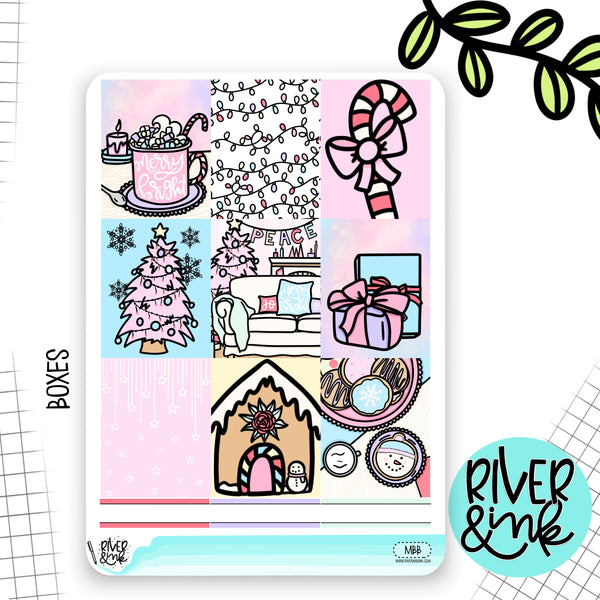 Merry and Bright Christmas Weekly Vertical Kit | Planner Stickers