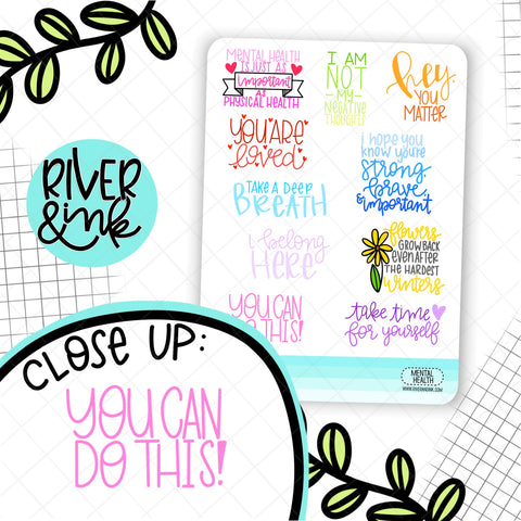 Mental Health Quotes | Hand Lettered Planner Stickers