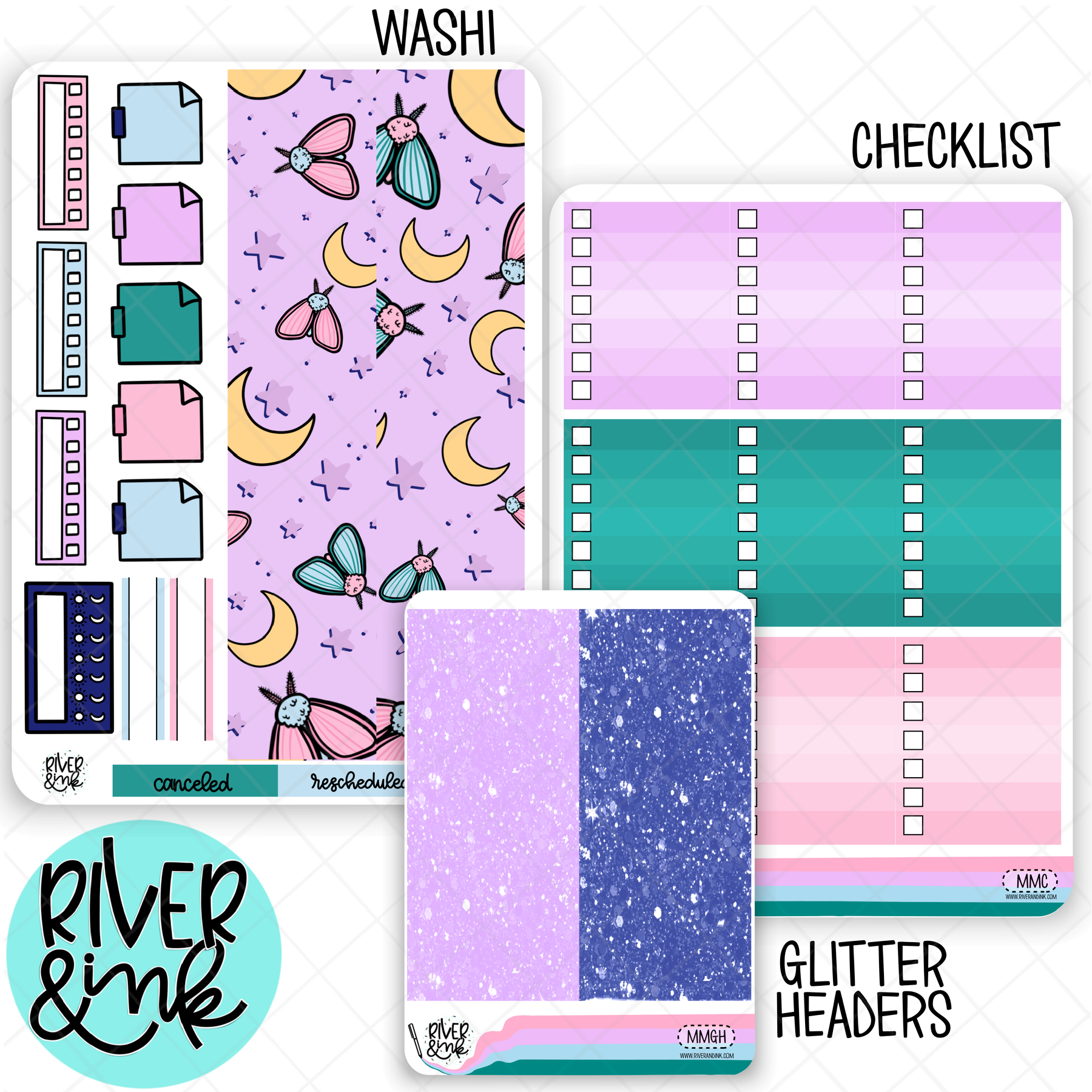 Moonlit Moth | Weekly Vertical Planner Stickers Kit Add Ons
