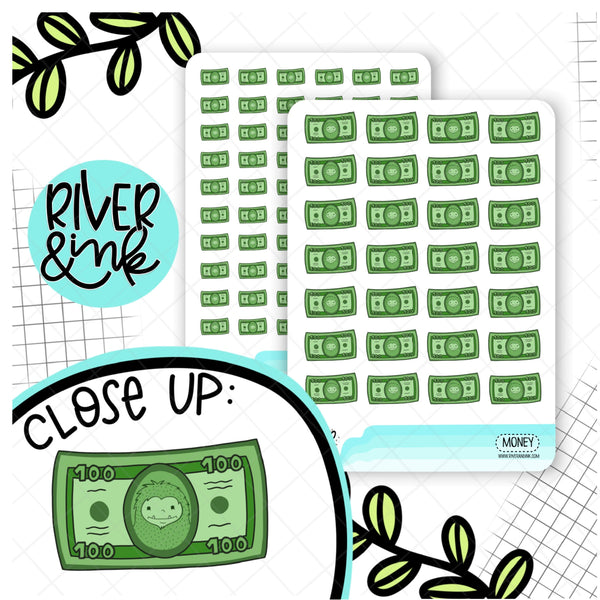 Money Dollar Bill Pay Day Biggie Sass Planner Character | Planner Stickers