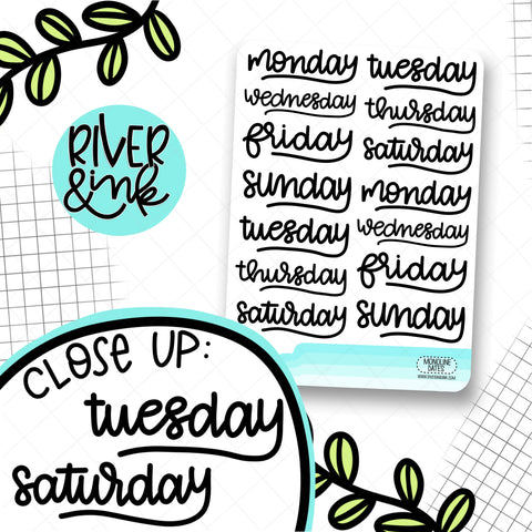 Monoline Script Date Cover | Hand Lettered Planner Stickers