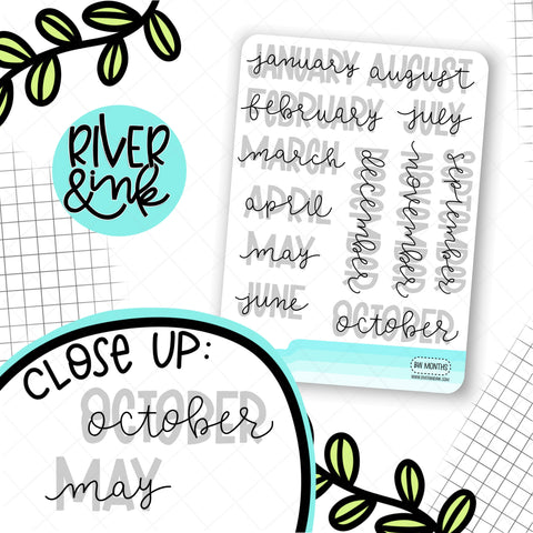 Neutral Month Headers | Hand Lettered Planner Stickers