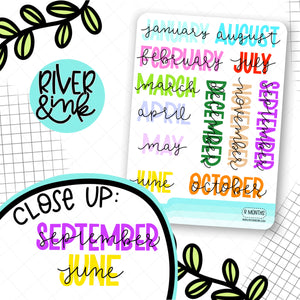 Rainbow Month Headers | Hand Lettered Planner Stickers