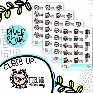 Feeling Mooody Cow Planner Characters | Hand Drawn Planner Stickers