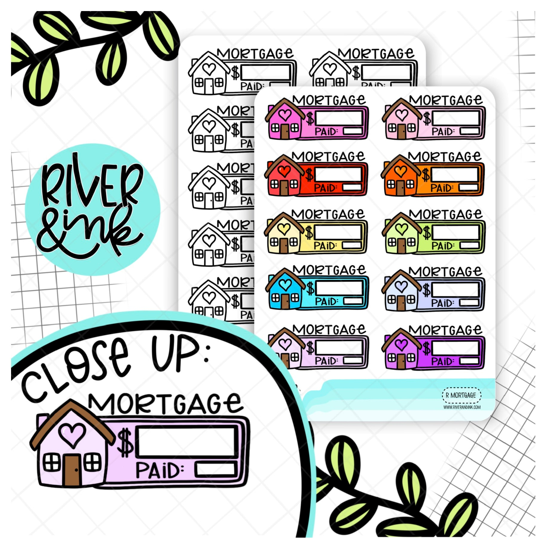 Mortgage Bill Budget Quarter Boxes | Hand Lettered Planner Stickers