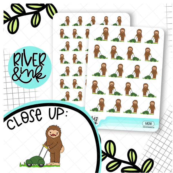 Mow Grass Biggie Sass Planner Character | Hand Drawn Planner Stickers