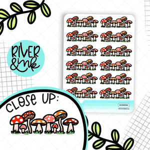 Mushroom Dividers | Hand Drawn Planner Stickers