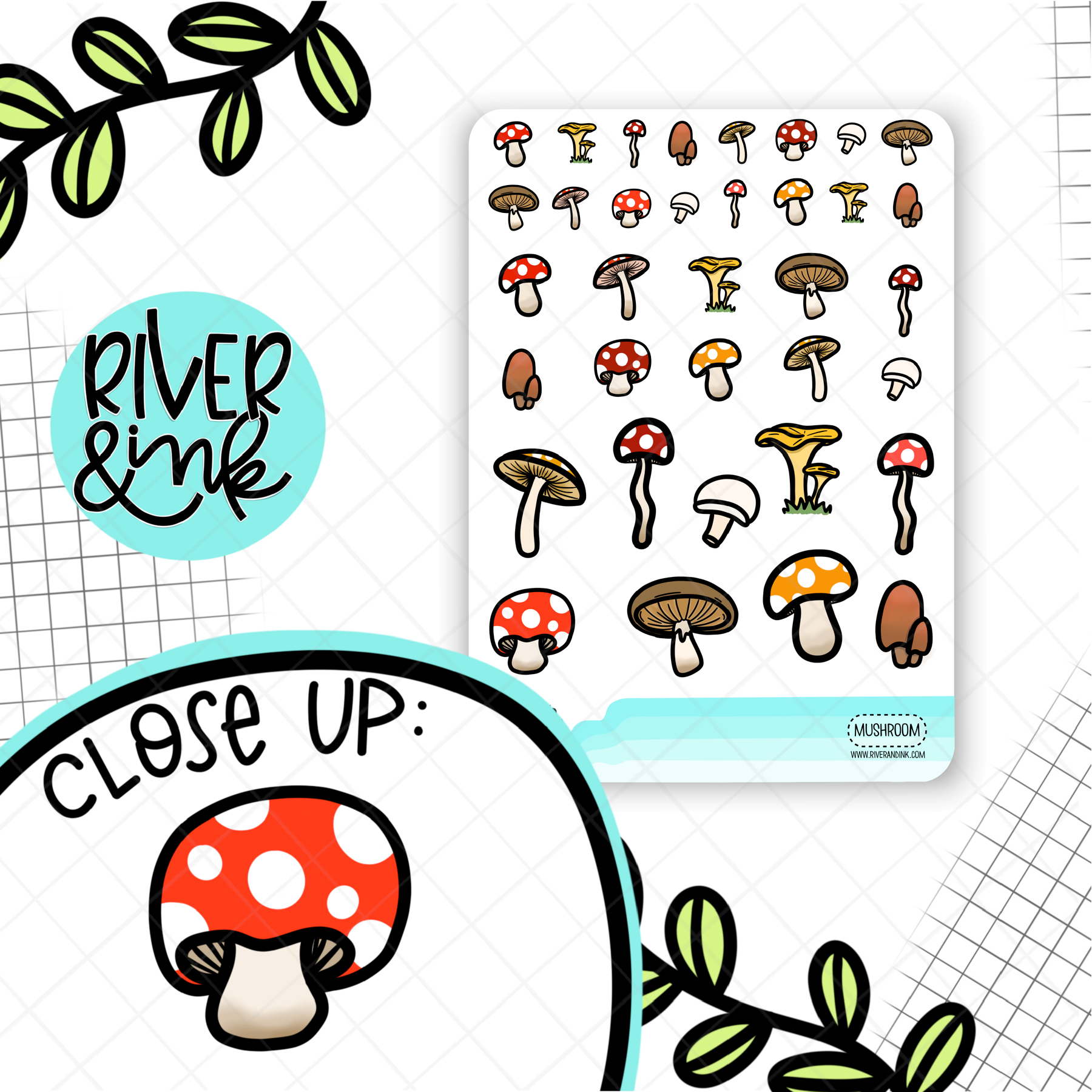 Mushrooms | Hand Drawn Planner Stickers