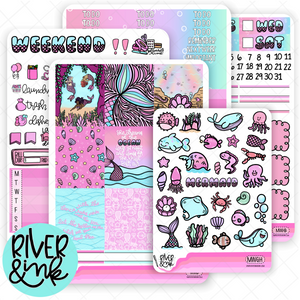 Mermaid Waves | Weekly Vertical Planner Stickers Kit