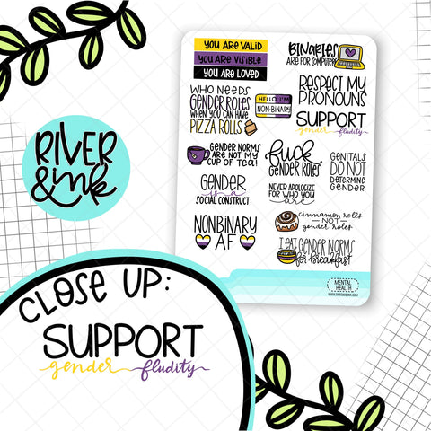 Non Binary Pride Quote | Hand Lettered Planner Stickers