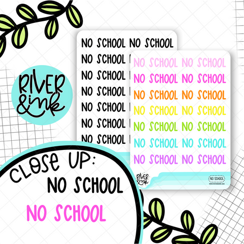 No School | Hand Lettered Planner Stickers