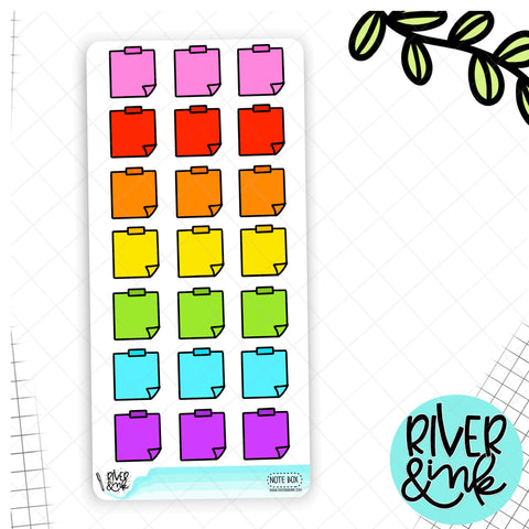 Rainbow Notes Box Hobonichi Weeks | Hand Drawn Planner Stickers