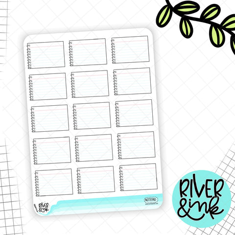 Notepad Half Boxes | Hand Drawn Planner Stickers