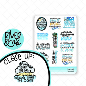 Ocean Sea Quotes | Hand Lettered Planner Stickers