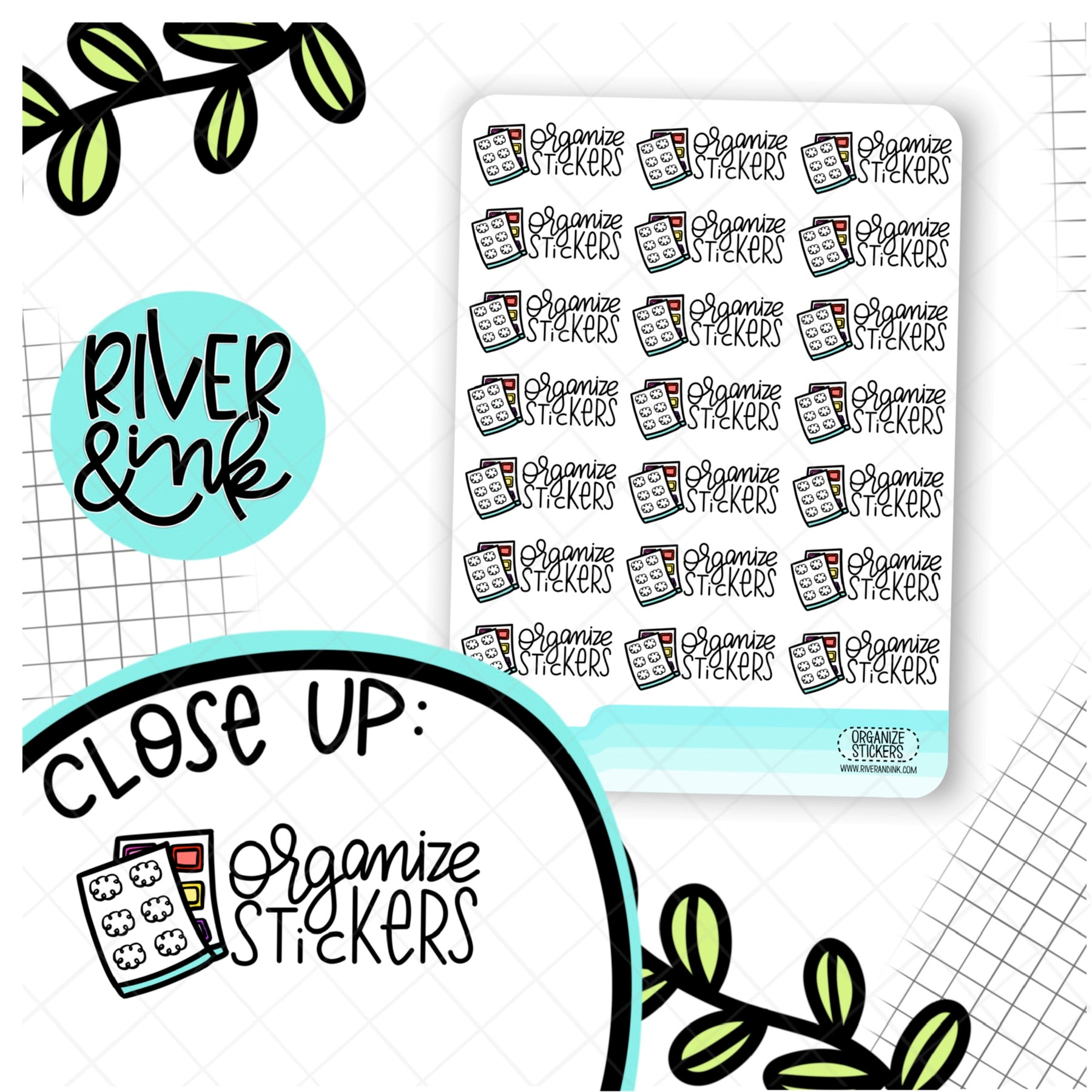 Organize Stickers | Hand Lettered Planner Stickers