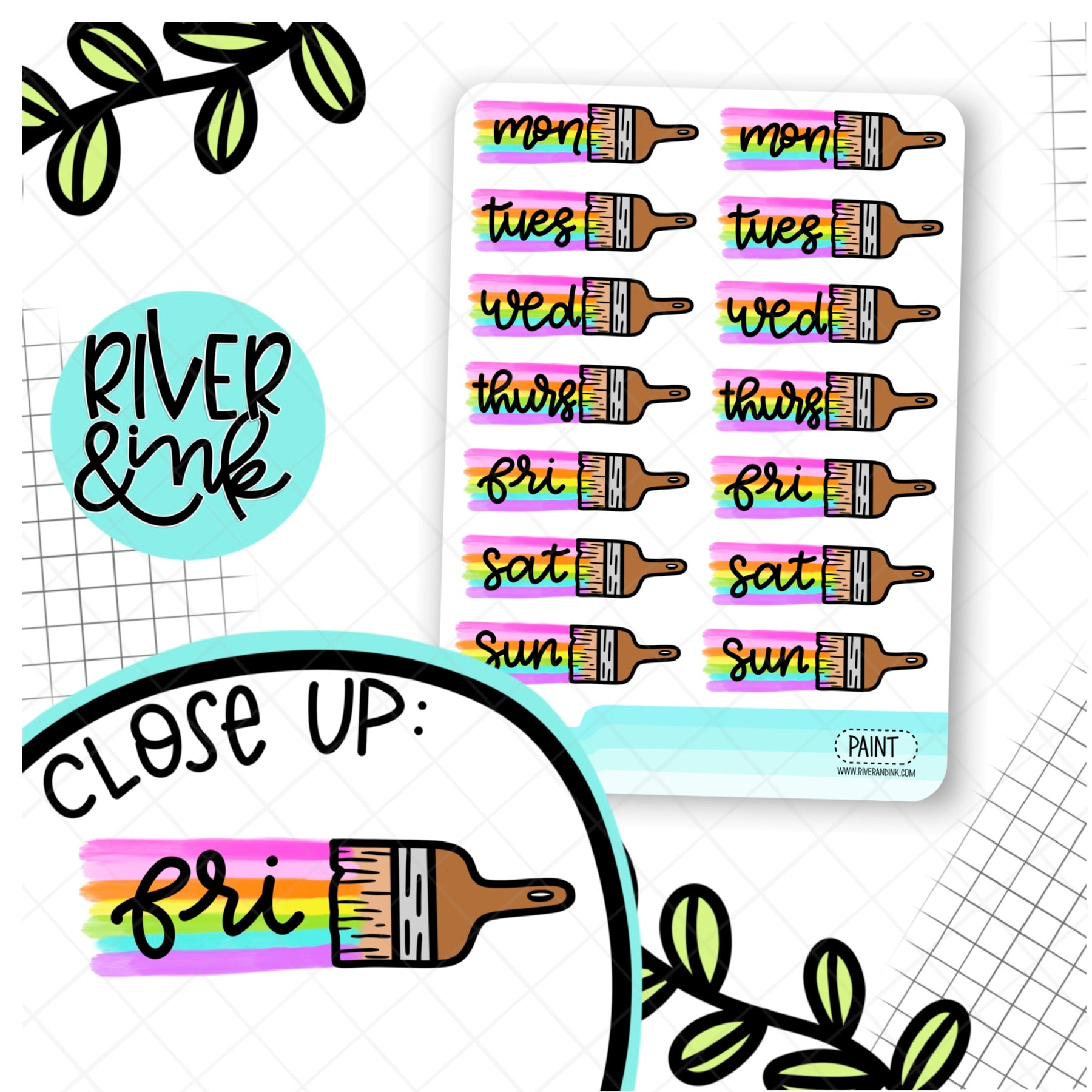Painted Date Cover | Hand Drawn Planner Stickers