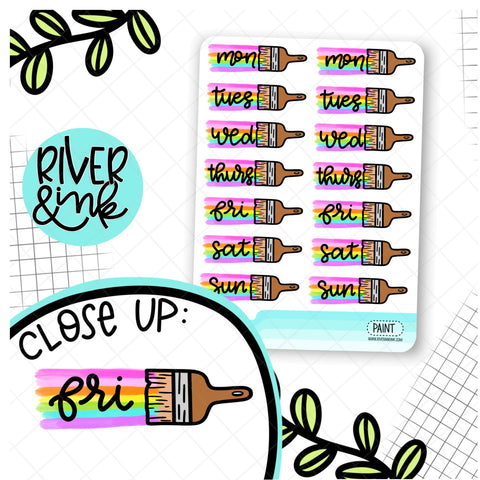 Paint Brush Date Cover | Hand Drawn Planner Stickers