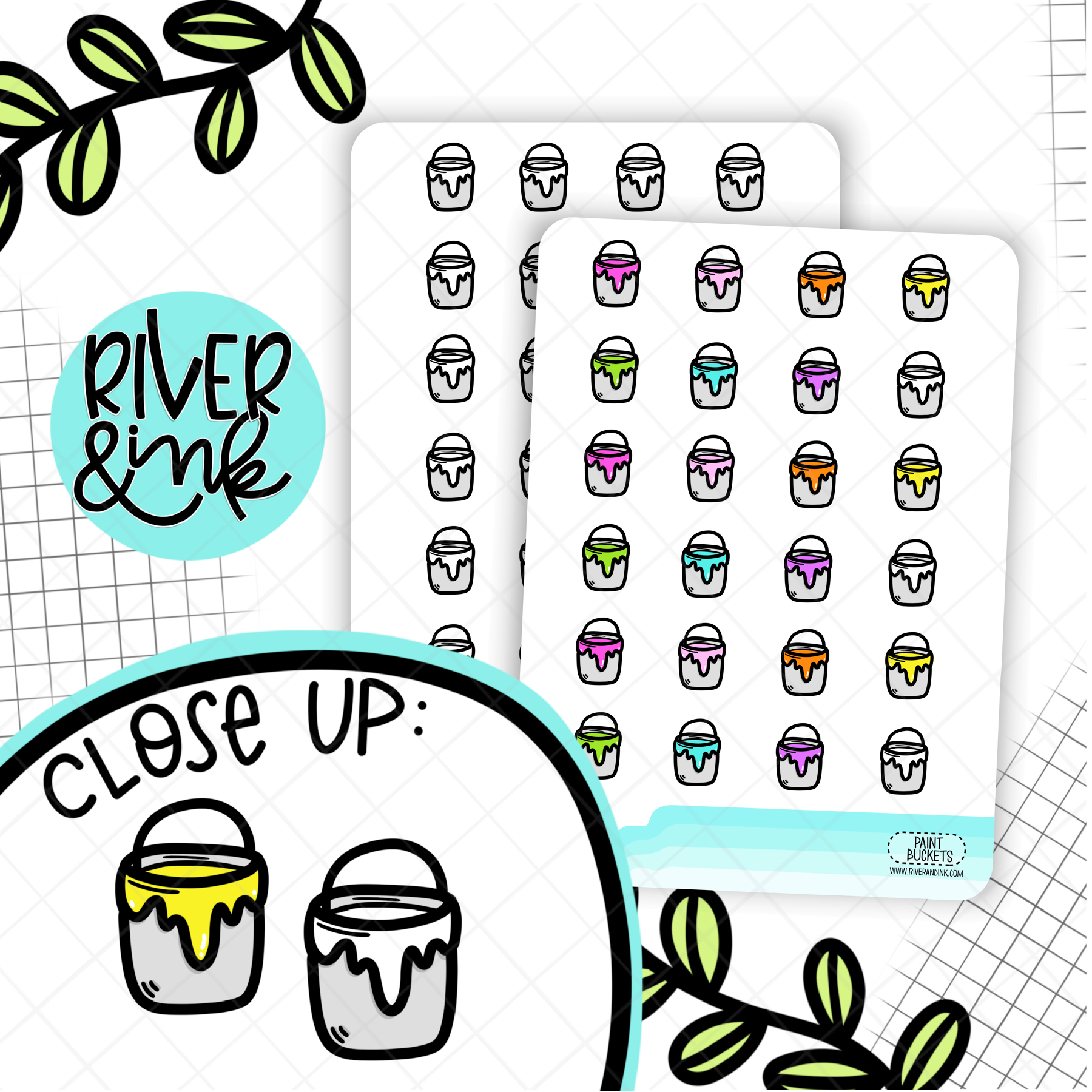 Paint Bucket Icons | Hand Drawn Planner Stickers