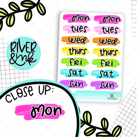 Colorful Paint Date Covers | Hand Lettered Planner Stickers