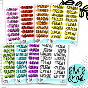 Rainbow Painted Days of the Week Planner Stickers