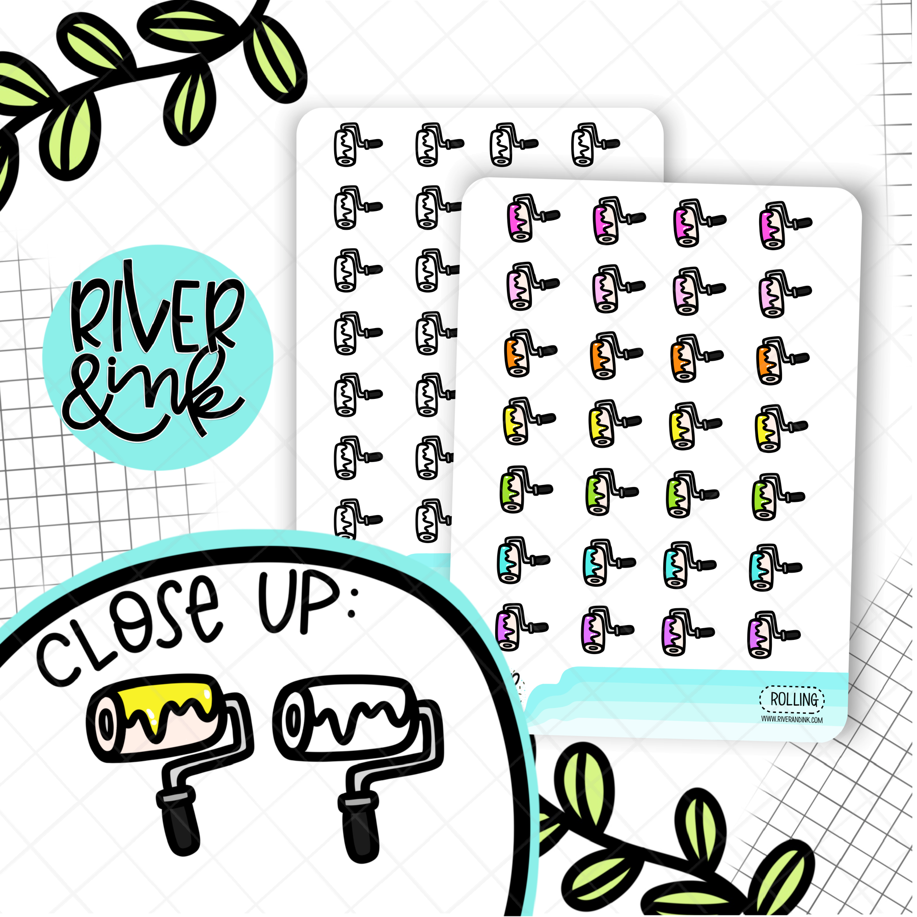 Paint Roller Icons | Hand Drawn Planner Stickers
