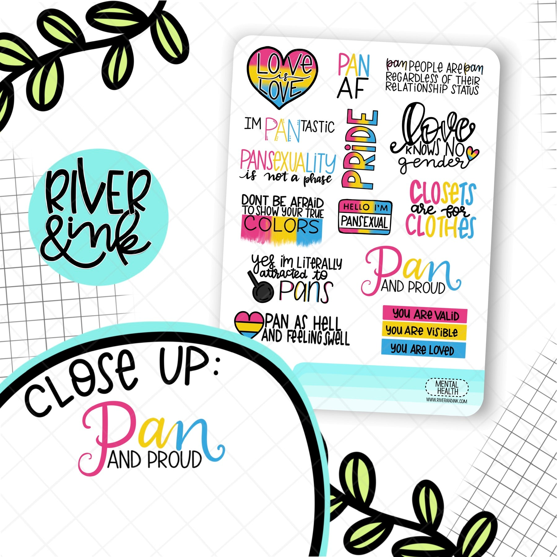 Pansexual Pride Quote | Hand Lettered Planner Stickers