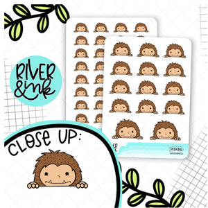 Peeking Biggie Sass Planner Character | Hand Drawn Planner Stickers