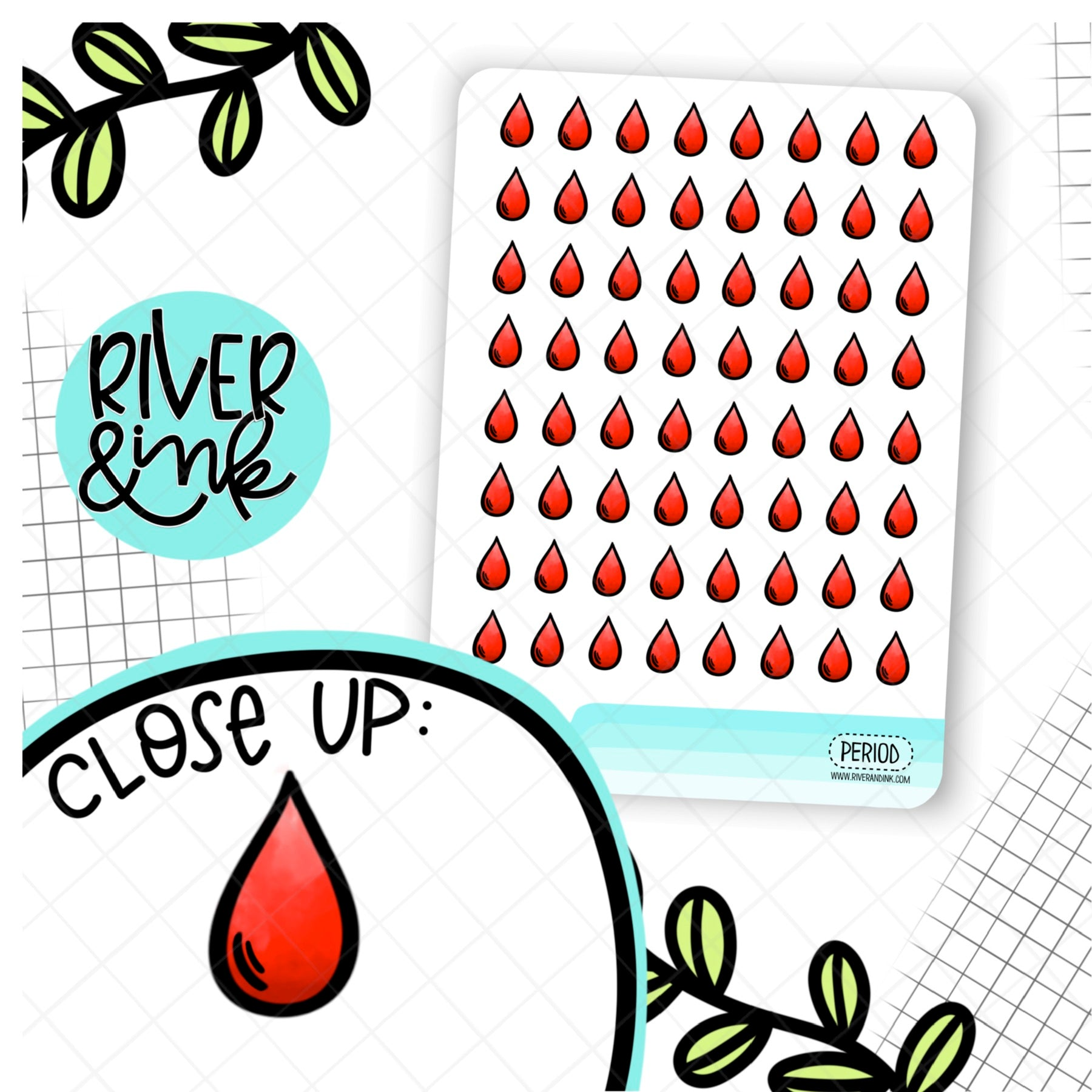 Period Icon | Hand Drawn Planner Stickers