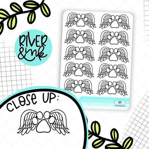 Pet Rest In Peace Memory | Hand Drawn Planner Stickers