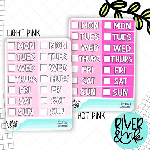 Pink Color Block Date Covers | Planner Stickers