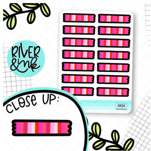 Pink Stripe Washi Strips | Hand Drawn Planner Stickers