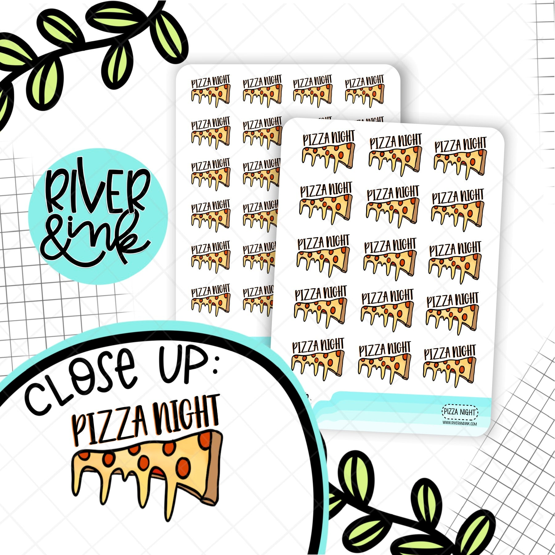 Pizza Night | Hand Drawn Planner Stickers