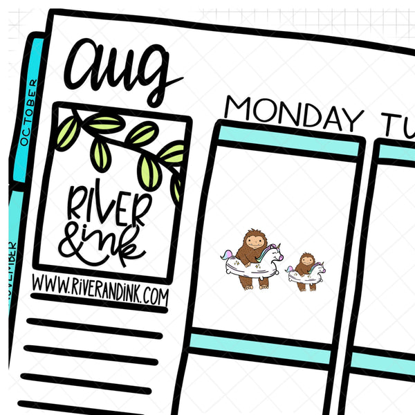 Pool Floatie Swimming Biggie Sass Planner Character| Hand Drawn Planner Stickers